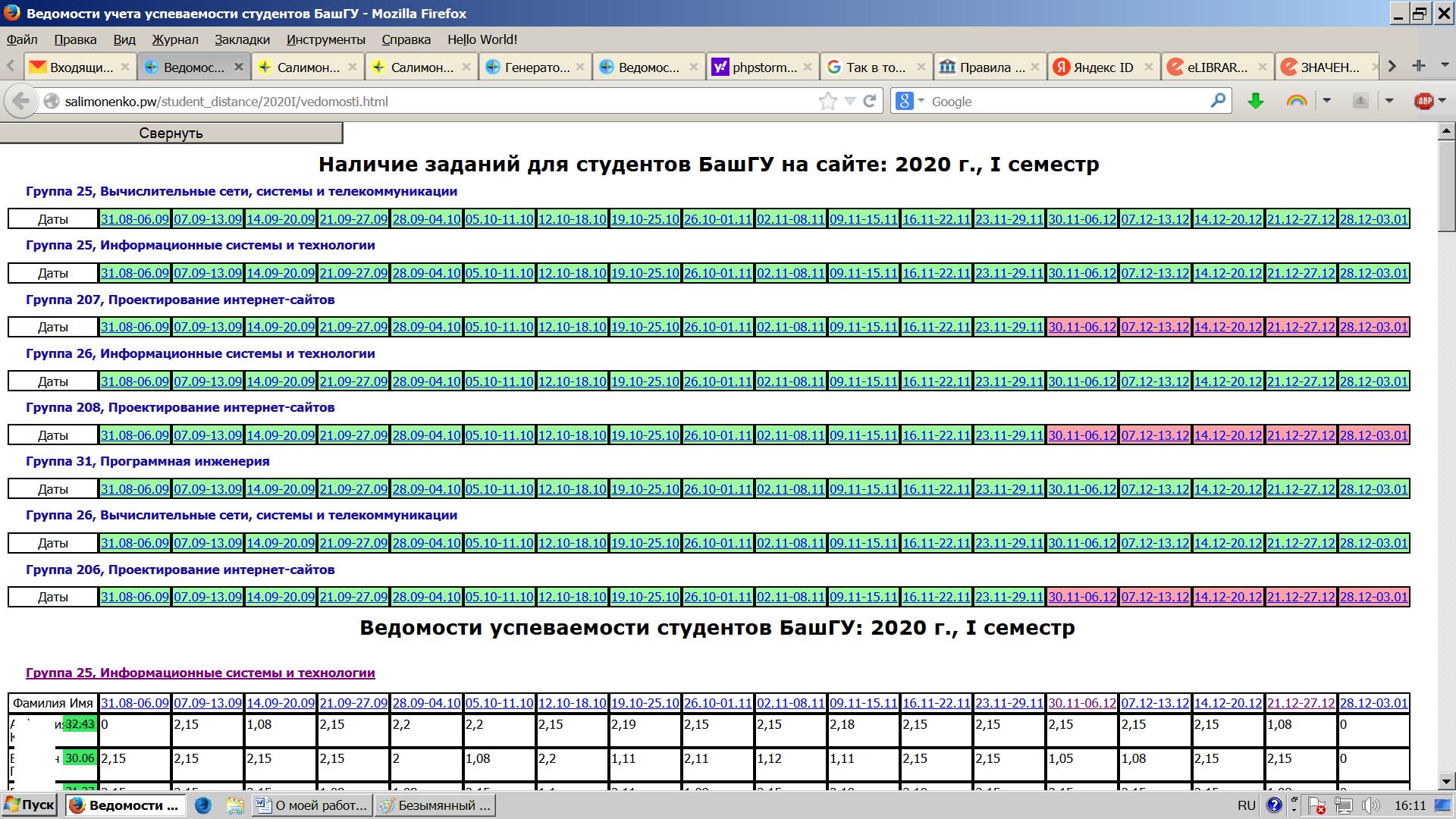 Контролер заданий для студентов на профессиональном сайте Салимоненко Д.А.